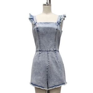 Denim Washed Ruffle Romper